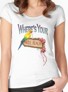 Where's Your Nude Beach Women's Fitted Scoop T-Shirt