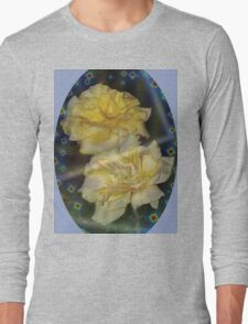 Yellow roses emblem with blue background Long Sleeve T-Shirt