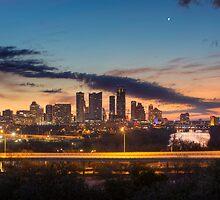 Austin Skyline Sunrise from the Zilker Park Clubhouse by RobGreebonPhoto