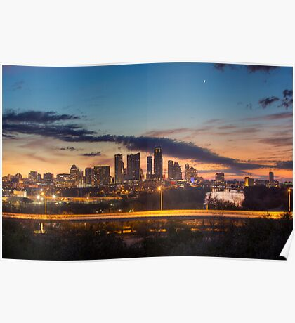 Austin Skyline Sunrise from the Zilker Park Clubhouse Poster