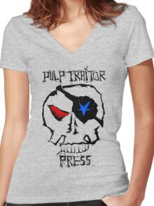 Pulp Traitor Press #2 Women's Fitted V-Neck T-Shirt