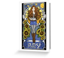 The Girl Who Waited (Amy under a Van Gogh sky) Greeting Card