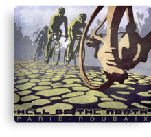 cycling illustration HELL OF THE NORTH retro Paris Roubaix  Canvas Print