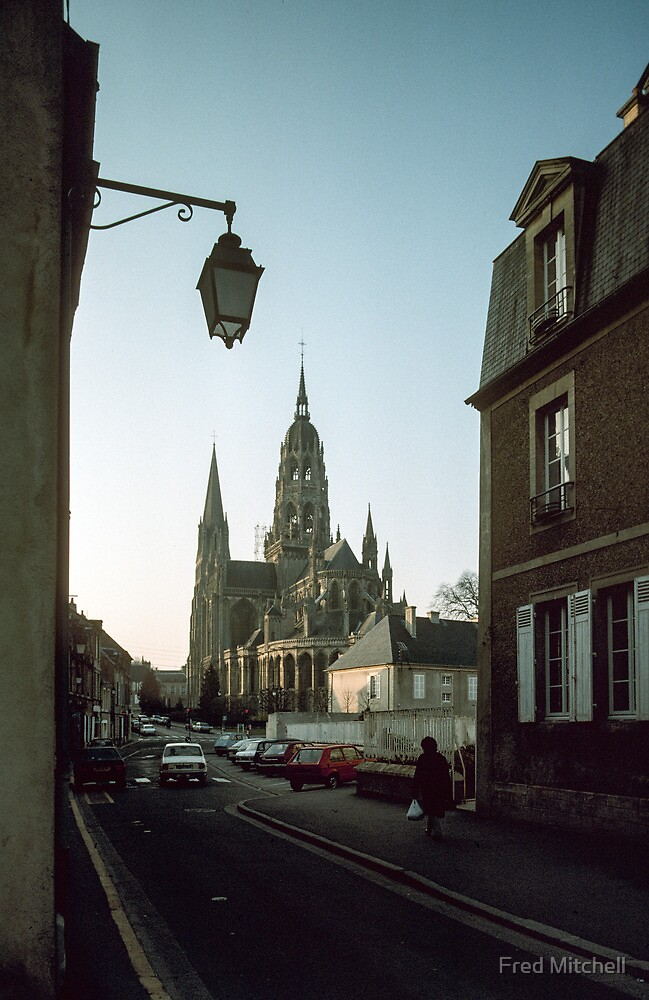 Bayeux Cathedral as we went to hotel for night 19840218 0085 by Fred Mitchell