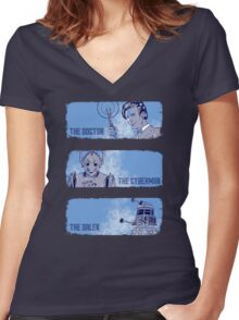The Doctor, The Cyberman, and The Dalek Women's Fitted V-Neck T-Shirt