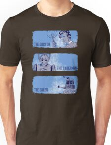 The Doctor, The Cyberman, and The Dalek Unisex T-Shirt