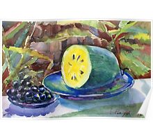 yellow watermelon and grapes Poster
