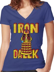 IRON DALEK Women's Fitted V-Neck T-Shirt