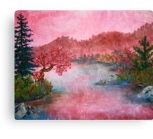 Pink Lake Oil Painting Canvas Print