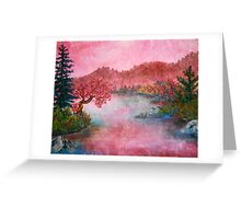 Pink Lake Oil Painting Greeting Card