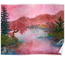 Pink Lake Oil Painting Poster