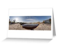 On the other side of port panorama, Riga, Latvia Greeting Card