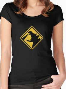 Beware of Japanese Monsters Road Sign Women's Fitted Scoop T-Shirt