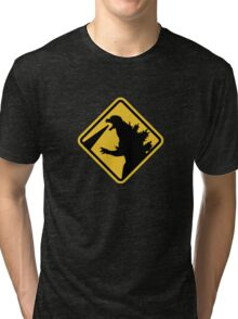 Beware of Japanese Monsters Road Sign Tri-blend T-Shirt