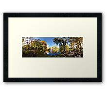 Nature fall a sleep in autumn. Riga  park panorama. Framed Print