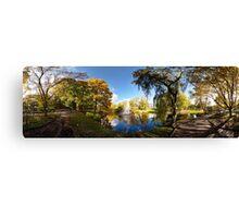 Nature fall a sleep in autumn. Riga  park panorama. Canvas Print