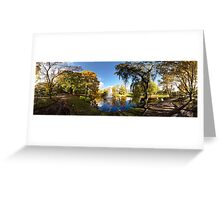 Nature fall a sleep in autumn. Riga  park panorama. Greeting Card