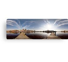 On the other side of port panorama, Riga, Latvia Canvas Print