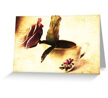 Vintage Rose & Old Vase. Greeting Card