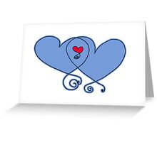 Blue Hearts Entwined Greeting Card