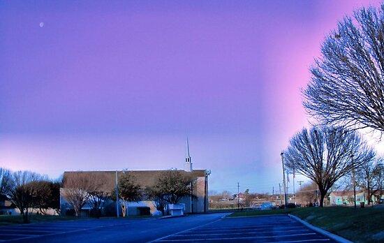 Moon over West Sherman Baptist Church, Sherman, Texas by aprilann