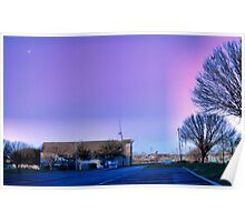Moon over West Sherman Baptist Church, Sherman, Texas Poster