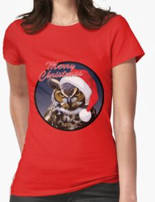 Christmas Owl Womens Fitted T-Shirt