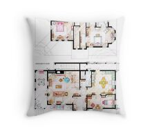 House of Lorelai & Rory Gilmore - Both Floorplans Throw Pillow