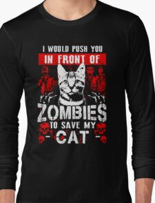 cat favourite zombie save pet animal Long Sleeve T-Shirt