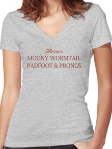 Messrs Moony, Wormtail, Padfoot and Prongs Women's Fitted V-Neck T-Shirt