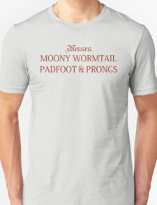 Messrs Moony, Wormtail, Padfoot and Prongs Unisex T-Shirt