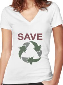 Save Women's Fitted V-Neck T-Shirt