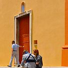 Corsica Church With Red Door by Thomas Barker-Detwiler