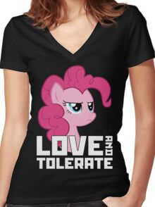 Pinkie Pie - Love And Tolerate Women's Fitted V-Neck T-Shirt