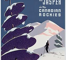 Poster advertising the Canadian Ski Resort Jasper (colour litho), Canadian School (20th Century) by Bridgeman Art Library