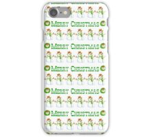 Vintage white green snowman Merry Christmas  iPhone Case/Skin