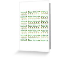Vintage white green snowman Merry Christmas  Greeting Card