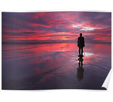 Sunset on one of Gormley's statues on Crosby Beach Poster