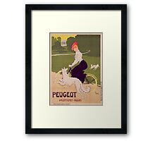 Poster advertising Peugeot bicycles Framed Print