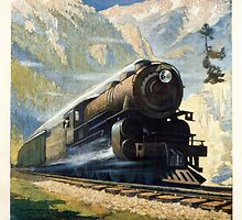 North Coast Limited in the Montana Rockies, Northern Pacific advertisement by Bridgeman Art Library