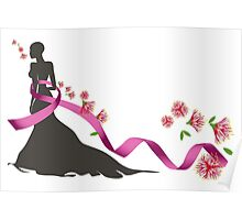Pink Ribbon with Pohutukawa Poster