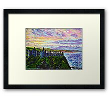 Tranquil Outlook, Dunluce Castle, County Antrim. Painted from a photo by Sean McAughey Framed Print
