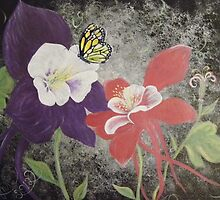 columbines and monarch butterfly  by dianalynn