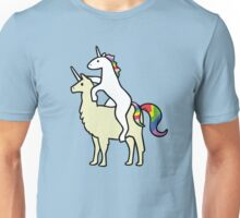 Unicorn Riding Llamacorn Unisex T-Shirt