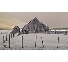 Old barn in the snow Photographic Print