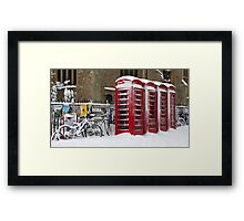 English telephone boxes in red and white Framed Print