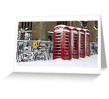 English telephone boxes in red and white Greeting Card