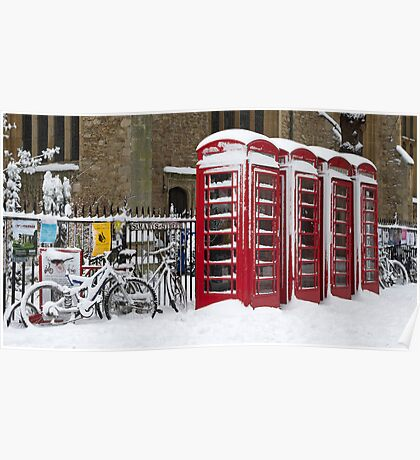 English telephone boxes in red and white Poster