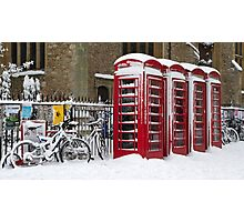 English telephone boxes in red and white Photographic Print