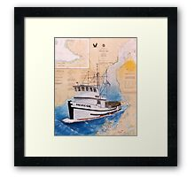 Crab Fishing Boat PACIFIC GIRL AK Nautical Chart Cathy Peek Framed Print